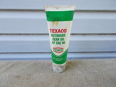 VINTAGE TEXACO OUTBOARD GEAR OIL PLATIC TUBE 8 oz. GAS STATION