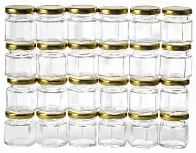Mini Glass Jars with Lids Small Honey Container Clear Storage Kitchen X24 1.5oz