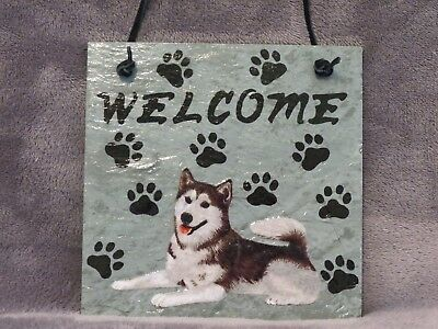 Hand Made Slate Siberian Husky Welcome Sign 5 1/2 Inch X 5 1/2 Inch
