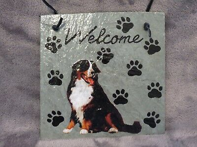 Hand Made Slate Bernese Mountain Dog Welcome Sign 5 1/2 Inch X 5 1/2 Inch