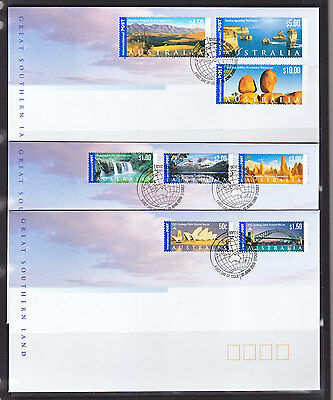 2000 GREAT SOUTHERN LAND TO $20.00  SET OF 3 FDCs