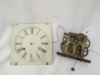 Antique Jerome Clock Movement, Hands And Dial For Spares Repair