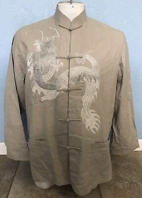 Asian Dragon Embroidered Stitched Oriental Knot Tie Shirt Light Jacket Size 3XL