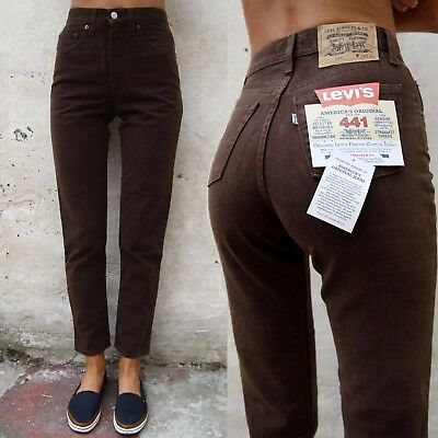 NWT Levis 441 Deadstock 80s High waisted Straight Slim Fit Jeans Brown 6/8/10/12