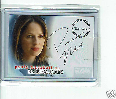 Paula Marshall actress Rebecca James Veronica Mars Hand Signed Card 3.5 x 2.5