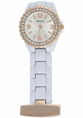 Henley Diamante Rose Gold Dial White Strap Nurse / Beautician Fob Watch HF01.14