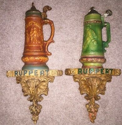 RARE Ruppert Beer Stein Wall Signs- Vintage Antique Advertising 2 Ruppert Steins
