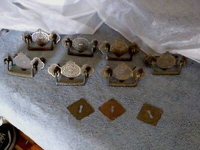 7 Antique Brass Dresser Pulls & Brass Key Hole Covers Salvaged From Walnut