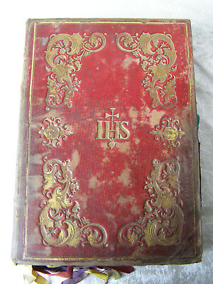 Antique Grosses Biedermeier Missale Romanum Messbuch Ledereinband 1842