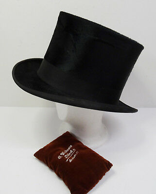 Antiker Hut Zylinderhut - Antique Top Hat - Dachshaar Zylinder - 58cm  ~1900