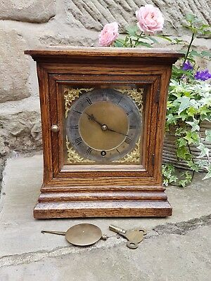 An old oak mantel clock by W&H beautifully aged timber - Quality maker