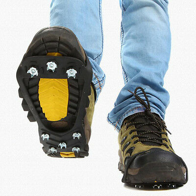 Pro Anti-Slip Ice Snow Shoe Spike Grips Cleats Covers Crampons 10Stud Spike Grip