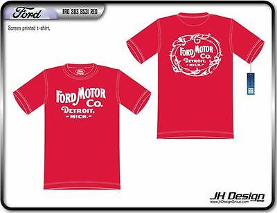 Size M Jh Design Ford Racing Red Vintage Style Screen Printed T- Shirt M