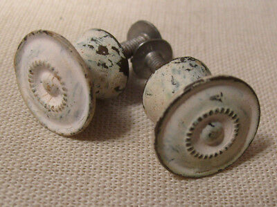 2 Vintage Metal Painted Knobs Drawer Pulls Distressed shabby chic white