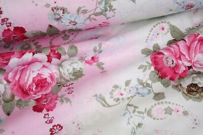 "Pink Flowers 100% cotton fabric sold by the meter 63"" width  SALE💕💕"