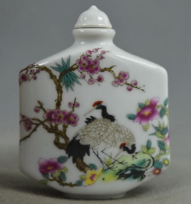 Collectable Handwork Porcelain Paint Crane & Pine Tree Noble Lucky Snuff Bottle