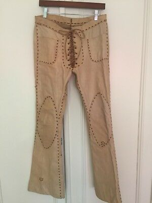 Vintage Mexican Tan Leather Lace Up Biker Hippie Motorcycle Pants
