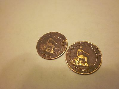 COINS SPAIN 1870's SPANISH EUROPEAN SET OF 2 COLLECTIBLES #718