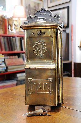 Early antique brass U.S. Mail Mailbox USM Letter Post Postal Mail