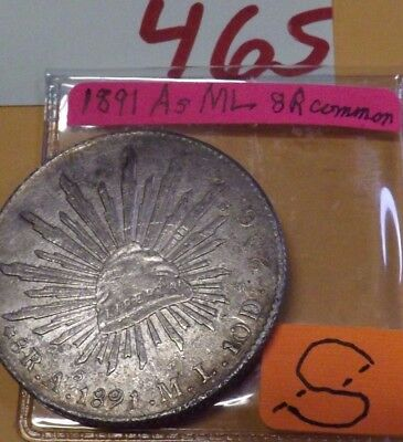 1891 As ML  8 REALES, silver Mexico, INTERESTING As/A$ over mintmark error