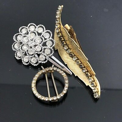 3 Vintage Gold And Silver Tone Clear Rhinestone Hair Clips Pins Barrettes.