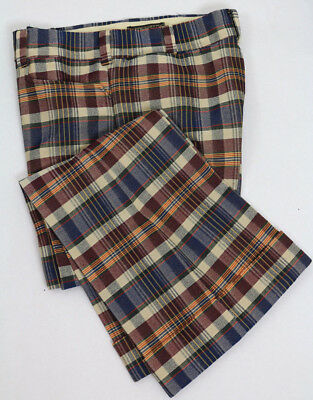 Vintage 70's Plaid Pants Polyester Knit flare w/ cuff Tobias Trousers size 33