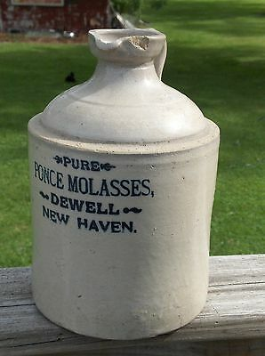 OLD Speckled PURE PONCE MOLASSES Stoneware JUG w/POUR Spout DEWELL, NEW HAVEN !!