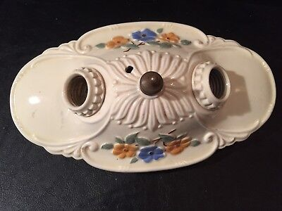 Vintage Porcelain Ceiling Wall Light Fixture Ivory Floral Oval
