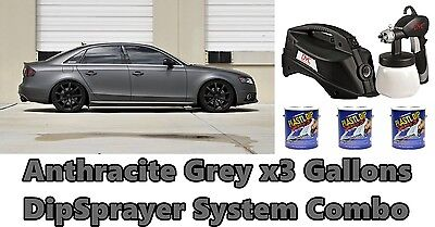 3 Gallons Anthracite Grey Performix Plasti Dip + DYC DipSprayer Gun Bundle Kit