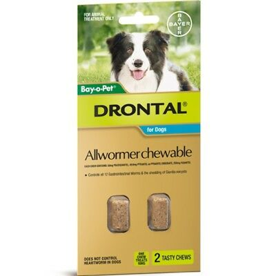 Drontal Allwormer Chewables for Dogs 10kg 2 chews Dog Dogs Pet Pets