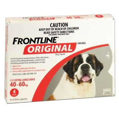 Frontline Original 4pk for X Large Dogs 40kg-60kg Dog Dogs Pet Pets