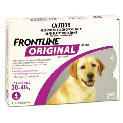 Frontline Original 4pk for Large Dogs up 20kg-40kg Dog Dogs Pet Pets