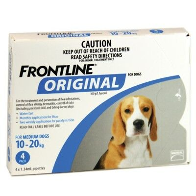 Frontline Original 4pk for Medium Dogs 10-20kgs Dog Dogs Pet Pets