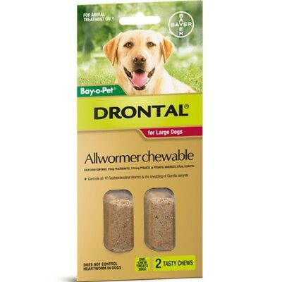 Drontal Allwormer Chewables for Dogs 35kg 2 chews Dog Dogs Pet Pets