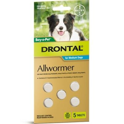 Drontal Allwormer Tablets for Dogs 10kg 5 tablets Dog Dogs Pet Pets