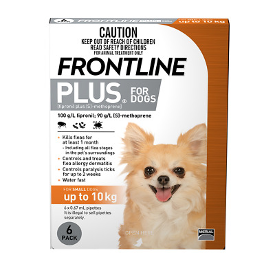 Frontline Plus for Small Dogs up to 10kg (Orange) (6 Pipettes) Dog Dogs
