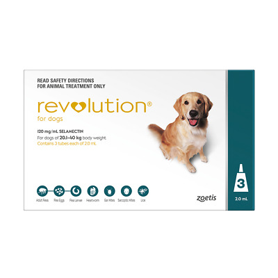 Revolution for Large Dogs 20.1 to 40kg (Green) (3 Pipettes) Dog Dogs Pet Pets