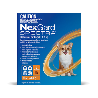 Nexgard Spectra for Extra Small Dogs 2 - 3.5kg (Orange) (3 pack) Cat Cats Pet