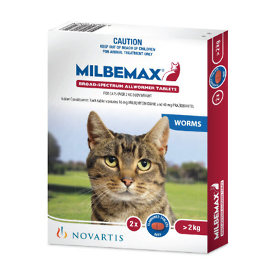 Milbemax Allwormer tablets for Large Cats 2 to 8 kg (2tabs)  Cat Cats Pet Pets