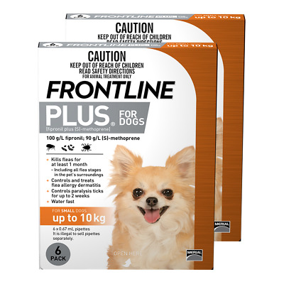 Frontline Plus for Small Dogs up to 10kg (Orange) (12 Pipettes) Dog Dogs