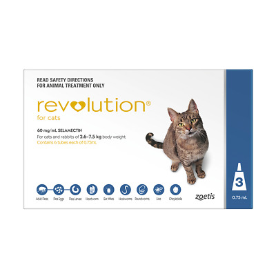 Revolution for Cats 2.6 to 7.5 kg (Blue) (3 Pipettes) Cat Cats Pet Pets