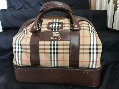 Burberry Haymarket Plaid Luggage, made in England, double compartment- Vintage