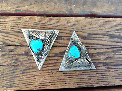 Cool Vintage Silver and Turquoise Collar Tips