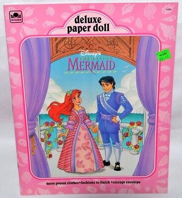 New-1992 Golden Book-Disney-Little Mermaid Deluxe Paper Dolls-Ariel +Prince Eric