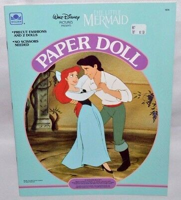 New-1991 Golden Book-Disney-Little Mermaid Paper Doll- Ariel, Eric & Friends ++