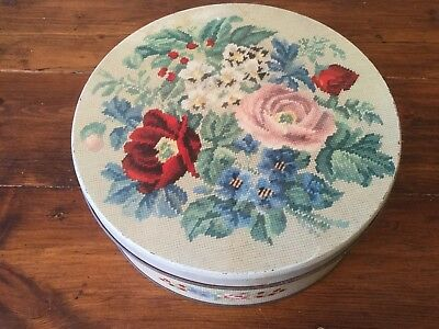 Vintage Large Griffiths Sweets Melbourne Roses Tapestry Tin