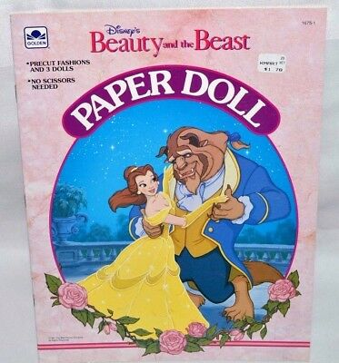 New-1991 Golden Book-Disney-Beauty & The Beast Paper Doll-Belle +13 Fashions ++