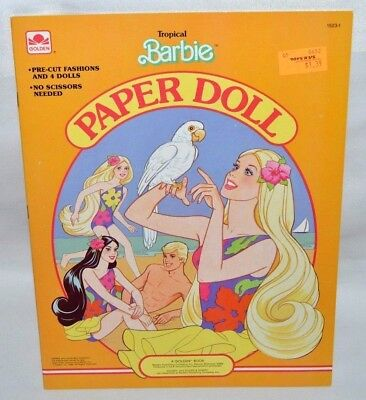 New-1986 Golden Book-Tropical Barbie Paper Doll Book-Ken,miko,skipper-27 Fashion