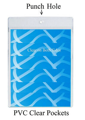 PVC Clear Display Pockets Point of sale Hanging Vinyl Price Protectors with Hole