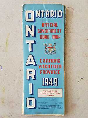 Vintage Fold Out Road Map - Ontario - Official Government Road Map